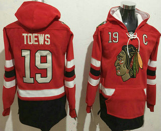 Men's Chicago Blackhawks #19 Jonathan Toews NEW Red Stitched NHL Old Tim Hockey Hoodie
