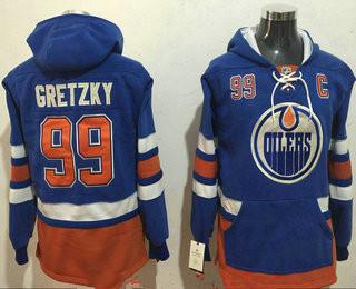 Men's Edmonton Oilers #99 Wayne Gretzky NEW Royal Blue Stitched NHL Old Tim Hockey Hoodie