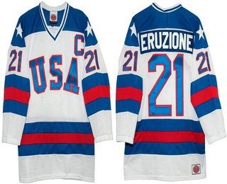 Men's 1980 Olympics USA #21 Mike Eruzione White Throwback Stitched Vintage Ice Hockey Jersey