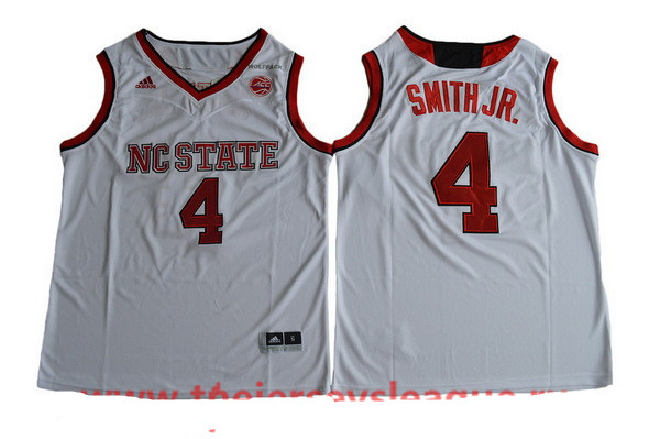 Men's NC State Wolfpack #4 Dennis Smith Jr. White College Basketball 2017 adidas Swingman Stitched NCAA Jersey