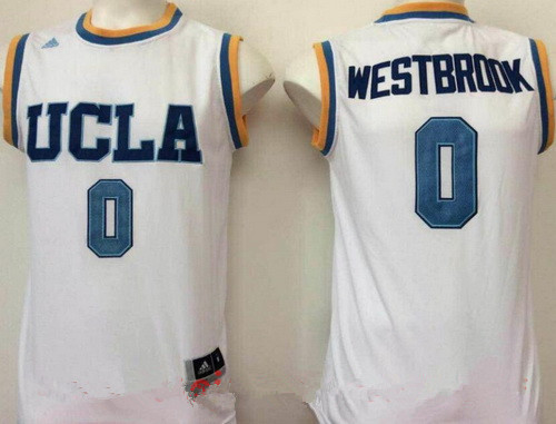 Men's UCLA Bruins ##0 Russell Westbrook White College Basketball 2017 adidas Swingman Stitched NCAA Jersey