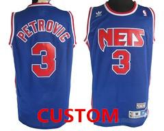 Custom New Jersey Nets Blue Swingman Throwback Jersey