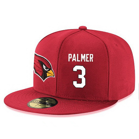Arizona Cardinals #3 Carson Palmer Snapback Cap NFL Player Red with White Number Stitched Hat