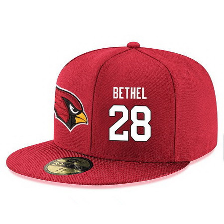Arizona Cardinals #28 Justin Bethel Snapback Cap NFL Player Red with White Number Stitched Hat