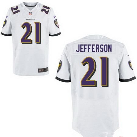 Men's Baltimore Ravens #21 Tony Jefferson White Road Stitched NFL Nike Elite Jersey