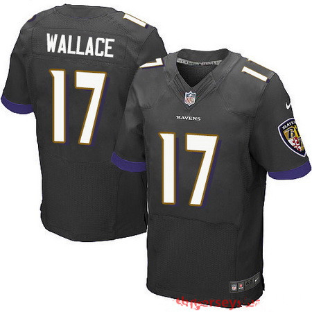 Men's Baltimore Ravens #17 Mike Wallace Black Alternate Stitched NFL Nike Elite Jersey