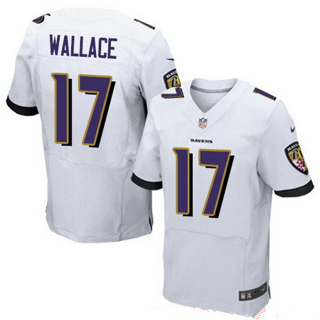 Men's Baltimore Ravens #17 Mike Wallace White Road Stitched NFL Nike Elite Jersey