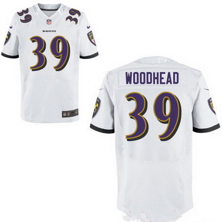 Men's Baltimore Ravens #39 Danny Woodhead White Road Stitched NFL Nike Elite Jersey