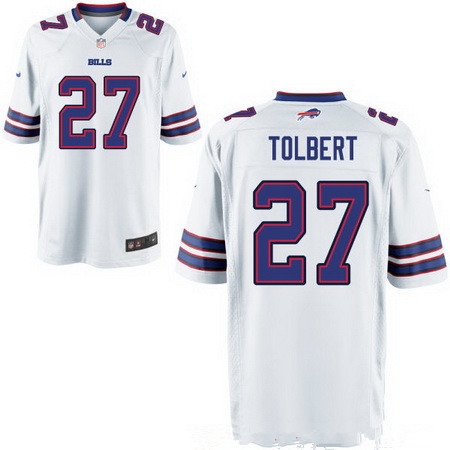 Men's Buffalo Bills #27 Mike Tolbert White Road Stitched NFL Nike Elite Jersey