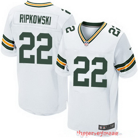Men's Green Bay Packers #22 Aaron Ripkowski White Road Stitched NFL Nike Elite Jersey