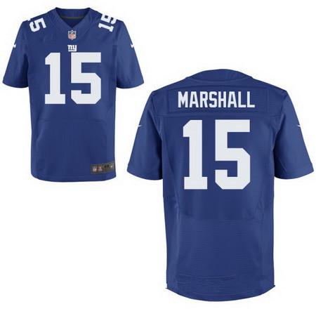 Men's New York Giants #15 Brandon Marshall Royal Blue Team Color Stitched NFL Nike Elite Jersey