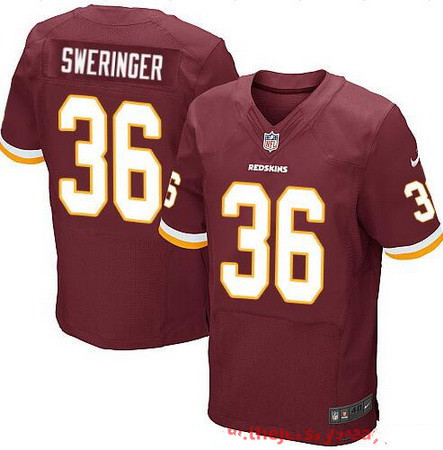Men's Washington Redskins #36 D.J. Swearinger Burgundy Red Team Color Stitched NFL Nike Elite Jersey
