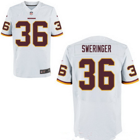 Men's Washington Redskins #36 D.J. Swearinger White Road Stitched NFL Nike Elite Jersey