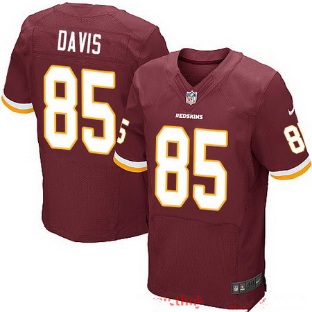 Men's Washington Redskins #85 Vernon Davis Burgundy Red Team Color Stitched NFL Nike Elite Jersey