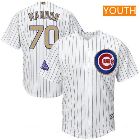 Youth Chicago Cubs #70 Joe Maddon White World Series Champions Gold Stitched MLB Majestic 2017 Cool Base Jersey