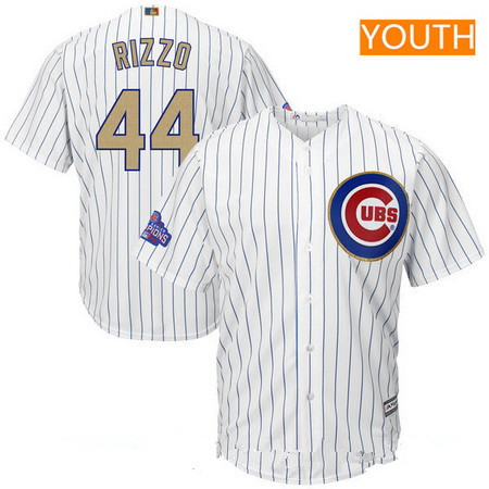 Youth Chicago Cubs #44 Anthony Rizzo White World Series Champions Gold Stitched MLB Majestic 2017 Cool Base Jersey