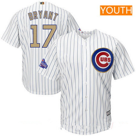 Youth Chicago Cubs #17 Kris Bryant White World Series Champions Gold Stitched MLB Majestic 2017 Cool Base Jersey