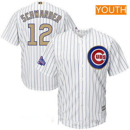 Youth Chicago Cubs #12 Kyle Schwarber White World Series Champions Gold Stitched MLB Majestic 2017 Cool Base Jersey