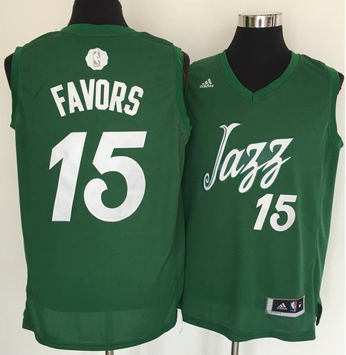 Men's Utah Jazz #15 Derrick Favors adidas Green 2016 Christmas Day Stitched NBA Swingman Jersey