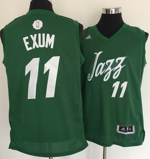 Men's Utah Jazz #11 Dante Exum adidas Green 2016 Christmas Day Stitched NBA Swingman Jersey