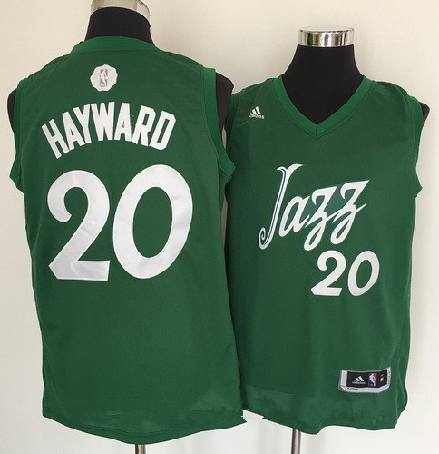 Men's Utah Jazz #20 Gordon Hayward adidas Green 2016 Christmas Day Stitched NBA Swingman Jersey