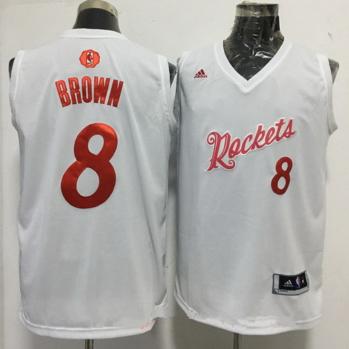 Men's Houston Rockets #8 Bobby Brown adidas White 2016 Christmas Day Stitched NBA Swingman Jersey