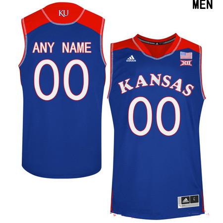 Youth Kansas Jayhawks Custom Adidas College Basketball Authentic Jersey - Royal Blue