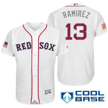 Men's Boston Red Sox #50 Hanley Ramirez White Stars & Stripes Fashion Independence Day Stitched MLB Majestic Cool Base Jersey