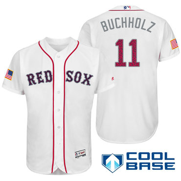 Men's Boston Red Sox #11 Clay Buchholz White Stars & Stripes Fashion Independence Day Stitched MLB Majestic Cool Base Jersey