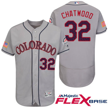 Men's Colorado Rockies #32 Tyler Chatwood Gray Stars & Stripes Fashion Independence Day Stitched MLB Majestic Flex Base Jersey