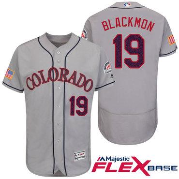 Men's Colorado Rockies #19 Charlie Blackmon Gray Stars & Stripes Fashion Independence Day Stitched MLB Majestic Flex Base Jersey
