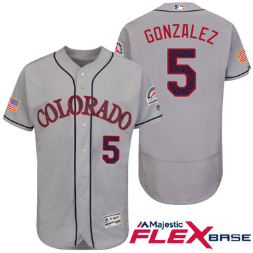 Men's Colorado Rockies #5 Carlos Gonzalez Gray Stars & Stripes Fashion Independence Day Stitched MLB Majestic Flex Base Jersey