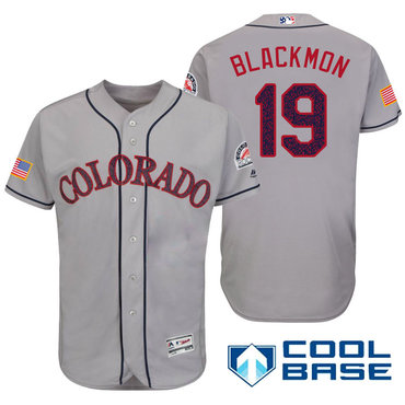 Men's Colorado Rockies #19 Charlie Blackmon Gray Stars & Stripes Fashion Independence Day Stitched MLB Majestic Cool Base Jersey