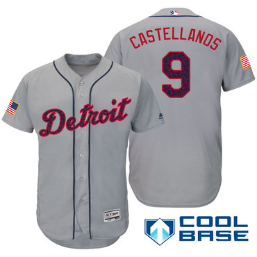 Men's Detroit Tigers #9 Nick Castellanos Gray Stars & Stripes Fashion Independence Day Stitched MLB Majestic Cool Base Jersey