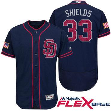 Men's San Diego Padres #33 James Shields Navy Blue Stars & Stripes Fashion Independence Day Stitched MLB Majestic Flex Base Jersey