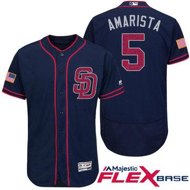 Men's San Diego Padres #5 Alexi Amarista Navy Blue Stars & Stripes Fashion Independence Day Stitched MLB Majestic Flex Base Jersey