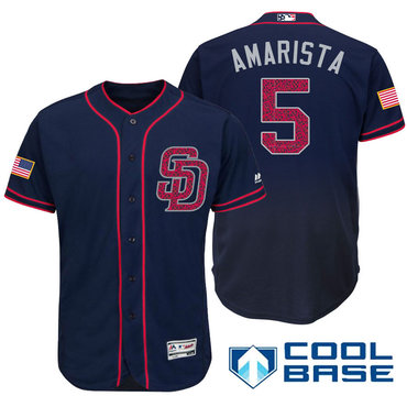 Men's San Diego Padres #5 Alexi Amarista Navy Blue Stars & Stripes Fashion Independence Day Stitched MLB Majestic Cool Base Jersey
