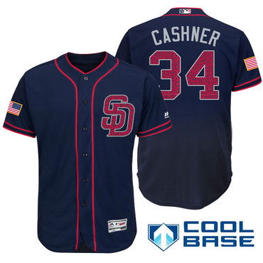 Men's San Diego Padres #34 Andrew Cashner Navy Blue Stars & Stripes Fashion Independence Day Stitched MLB Majestic Cool Base Jersey