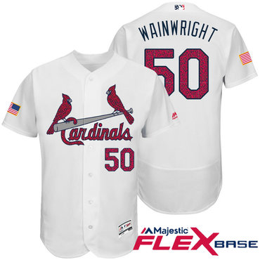 Men's St. Louis Cardinals #50 Adam Wainwright White Stars & Stripes Fashion Independence Day Stitched MLB Majestic Flex Base Jersey