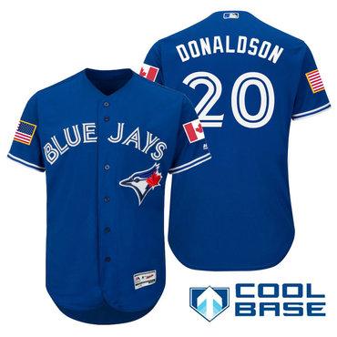 Men's Toronto Blue Jays #20 Josh Donaldson Royal Blue Stars & Stripes Fashion Independence Day Stitched MLB Majestic Cool Base Jersey