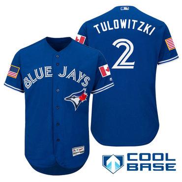 Men's Toronto Blue Jays #2 Troy Tulowitzki Royal Blue Stars & Stripes Fashion Independence Day Stitched MLB Majestic Cool Base Jersey