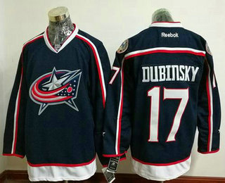 Men's Columbus Blue Jackets #17 Brandon Dubinsky Navy Blue Home Stitched NHL Reebok Hockey Jersey