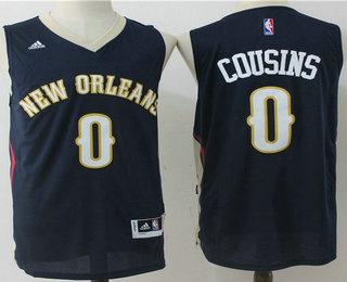 Men's New Orleans Pelicans #0 DeMarcus Cousins Navy Blue Stitched NBA Revolution 30 Swingman Jersey