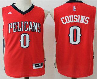 Men's New Orleans Pelicans #0 DeMarcus Cousins Red Stitched NBA Revolution 30 Swingman Jersey