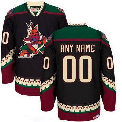 Men's Arizona Coyotes Black Throwback Custom CCM Vintage Hockey Jersey