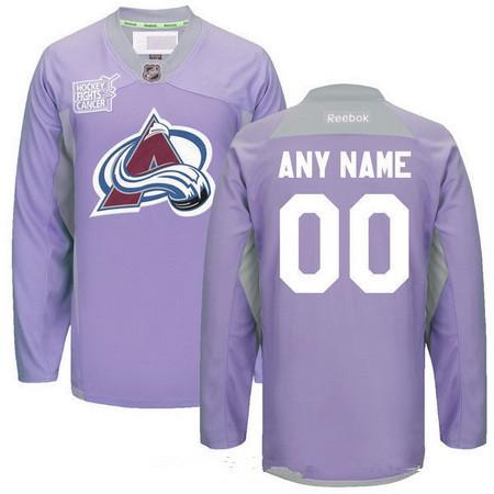 Men's Colorado Avalanche Purple Pink Custom Reebok Hockey Fights Cancer Practice Jersey