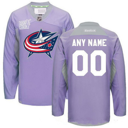 Men's Columbus Blue Jackets Purple Pink Custom Reebok Hockey Fights Cancer Practice Jersey