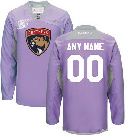 Men's Florida Panthers Purple Pink Custom Reebok Hockey Fights Cancer Practice Jersey