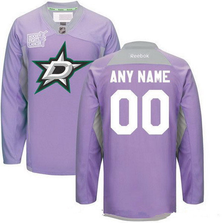 Men's Dallas Stars Purple Pink Custom Reebok Hockey Fights Cancer Practice Jersey