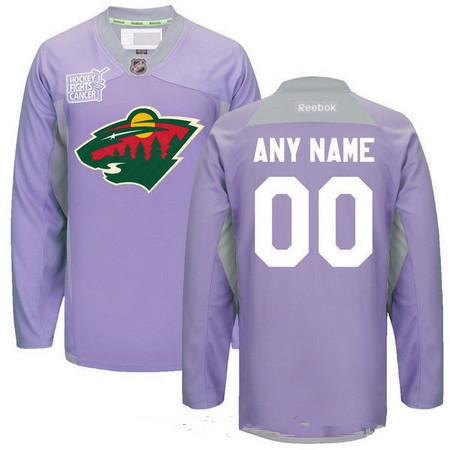 Men's Minnesota Wild Purple Pink Custom Reebok Hockey Fights Cancer Practice Jersey